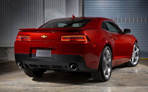 The V8 in the 2014 Chevrolet Camaro is a more aggressive option versus the base V6.