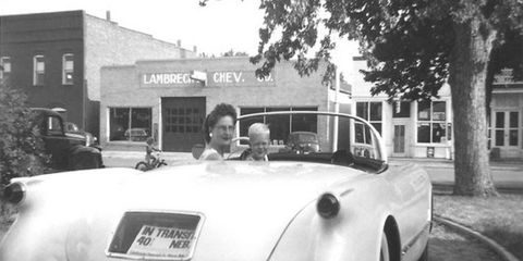 A photo in front of Lambrecht Chevrolet in its heyday.