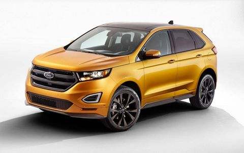 "The 2015 Ford Edge Sport gets a new 2.7-liter turbocharged V6 making ""more than 300 hp,"" according to Ford."
