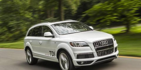 The turbocharged diesel V6 in the 2014 Audi Q7 3.0 TDI Prestige cranks out 240 hp with 406 lb-ft of torque.