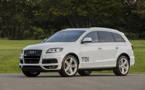The 2014 Audi Q7 3.0 TDI Prestige receives an EPA-estimated 22 mpg combined fuel economy.