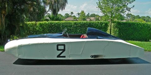 """Beneath its aerodynamic aluminum bodywork, """"Le Monstre"""" is a relatively conventional 1950 Cadillac Series 61."""