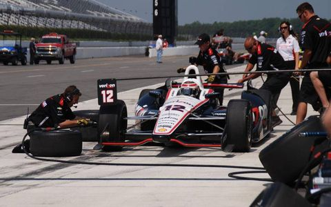 Will Power and his IndyCar team get some practice in at Pocono on Tuesday.