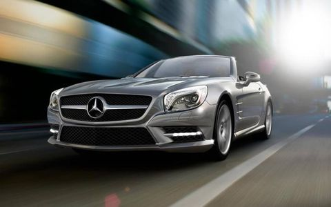 The  2013 Mercedes-Benz SL550 is equipped with a 4.6-liter twin-turbocharged V8.