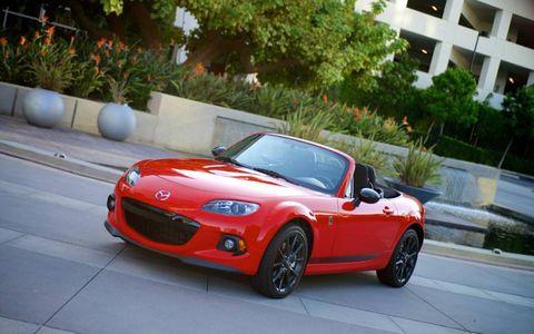 The 2014 Mazda MX-5 Miata Club PRHT receives an EPA-estimated 24 mpg combined fuel economy.