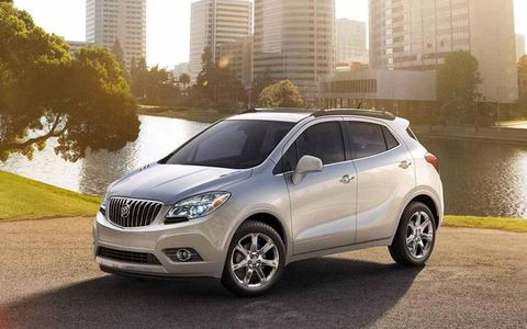 The 3,309 lb Encore is powered by a 1.4-liter turbocharged I4 delivering 138 hp and 148 lb-ft of torque