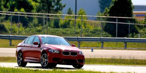 Students took the new 2012 BMW M5 on the track at the BMW Performance driving school.