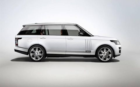 The 2014 Land Rover Range Rover Autobiography LWB is equipped with a 5.0-liter supercharged V8.