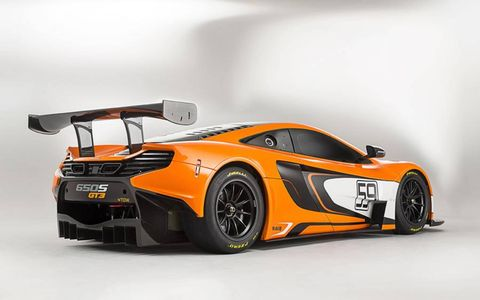 The GT3 is built around the same carbon fiber chassis as the 650S road car.