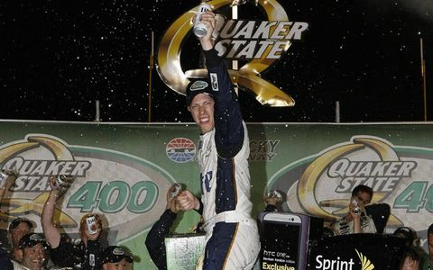 Team Penkse driver Brad Keselowski won at Kentucky Speedway from the pole on Saturday.