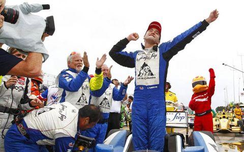 Columbian Carlos Huertas celebrates his first Verizon IndyCar Series victory on Saturday in Houston.