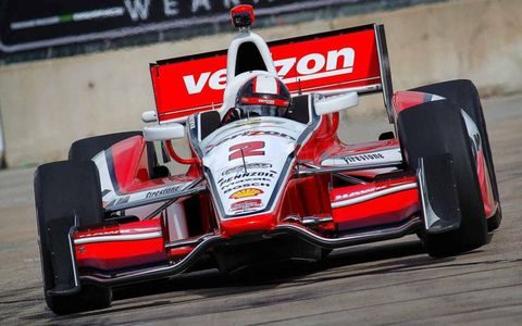 Juan Pablo Montoya finished second in the Saturday race at Houston for his best finish of the season for Team Penske.