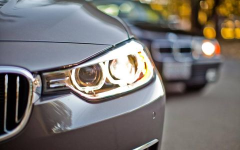 Automotive design, Blue, Daytime, Automotive lighting, Vehicle, Yellow, Headlamp, Automotive parking light, Automotive exterior, Car,