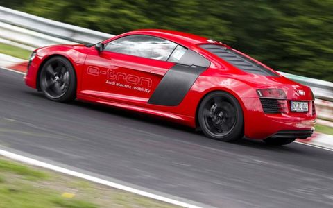 A side view of the Audi R8 e-tron on the Nurburgring.