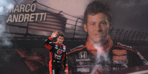Marco Andretti waves to the crowd during driver introductions at Iowa Speedway on June 25. Photo by: Dan R. Boyd/LAT Photographic