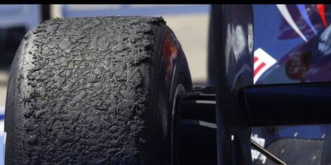 A look at one of Pirelli's tires after the European Grand Prix at the Valencia Street Circuit in Spain on June 26. Photo by: Steven Tee/ LAT Photographic