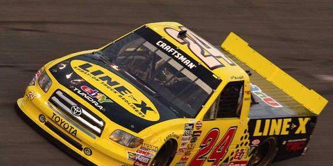 The Tundra makes its NASCAR Camping World Truck Series debut at Daytona International Speedway on  Feb. 13, 2004.