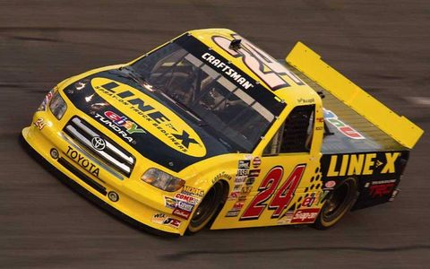 The Tundra makes its NASCAR Camping World Truck Series debut at Daytona International Speedway on  Feb. 13, 2004.