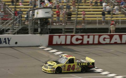 At Michigan, Travis Kvapil drives the Bang Racing No. 24 Tundra to earn Toyota's first win in the Truck Series on July 31, 2004.
