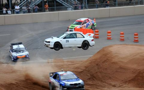 Every Which Way//Cars were flying all over the track during the Last Chance qualifier of the Global Rallycross event at Pikes Peak International Raceway. The event was won by Tanner Foust.