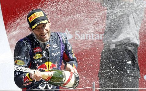 Mark Webber celebrates after his podium finish in the British Grand Prix.