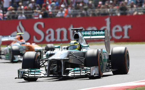 Nico Rosberg racing around Silverstone.