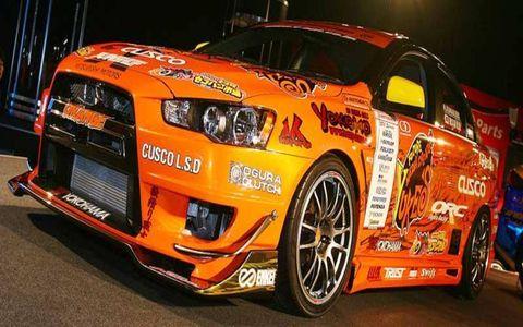 JUN-Group Mitsubishi Evolution Team Orange drift car.