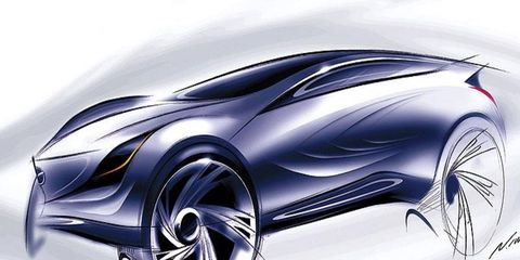 Mazda has revealed sketches of a new concept vehicle it is building for an auto show in Russia late this summer.