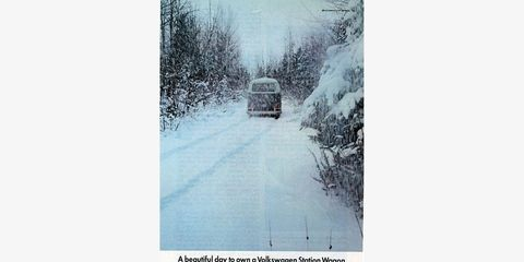 That's right, VW pitched the two-wheel-drive Transporter as an ideal winter-driving vehicle.