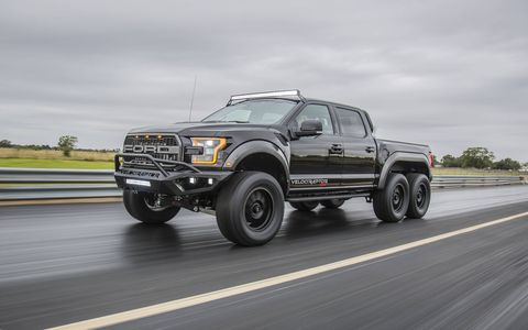 The Velociraptor can be ordered from Hennessey or a Ford dealer.