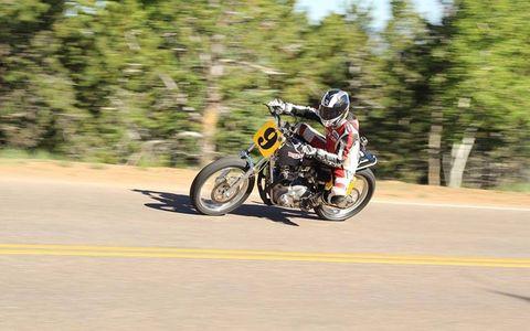 Mark Shim, 1971 Triumph Bonneville. Winner of Vintage Motorcycle class, 12:58.519 time.