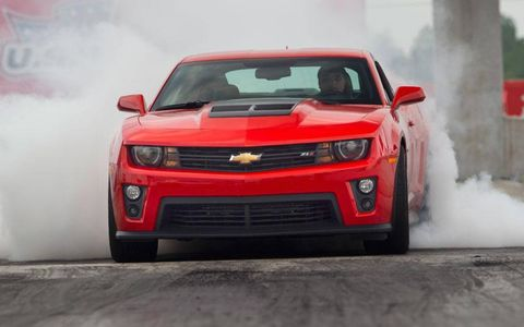 Next up is a ZL1 with manual gearbox. The latest generation of Performance Traction Management has five settings but only mode five, or race mode, is appropriate on this type of surface.