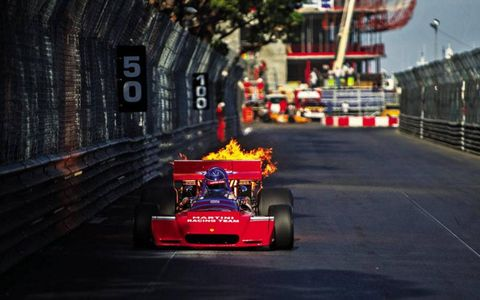 A 1972 Tecno PA123 lights up on track in Monaco.