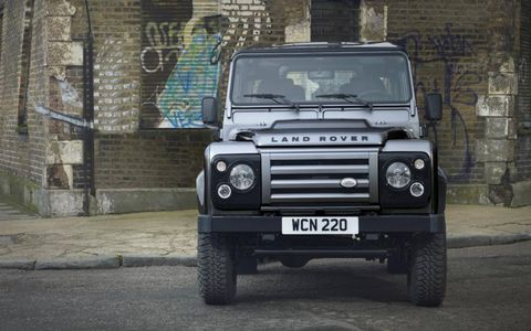 Land Rover Defender Special Edition from the front in Orkney gray.