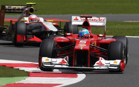 Series points leader Fernando Alonso finished runner-up at Silverstone after leading with just four laps remaining.