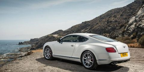 The 2014 Bentley Continental GT V8 S is equipped with a 4.0-liter twin-turbocharged V8.