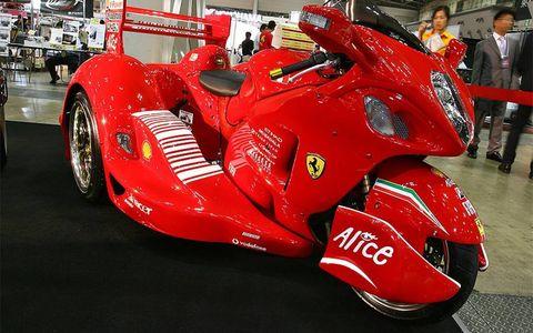Trike Japan's latest creation, a Ferrari F1-inspired Hayabusa trike.