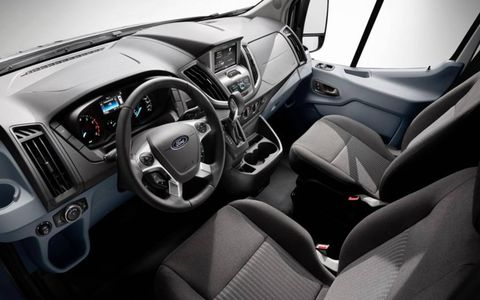 The interior of the 2015 Ford Transit comes with an array of different storage compartments.