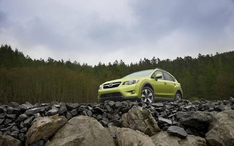 The 2014 Subaru XV Crosstrek Hybrid Touring utilizing its AWD capabilities.