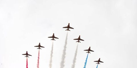 2012 British Grand Prix: The Red Arrows perform a patriotic fly past in their 7 BAE Systems Hawk T.Mk.1A's.
