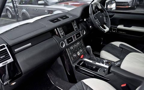 The interior of the armored Range Rover maintains the vehicle's stock amenities while adding a level of protection.