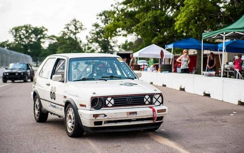Bringing the 1991 Volkswagen Golf GTI into the pits.