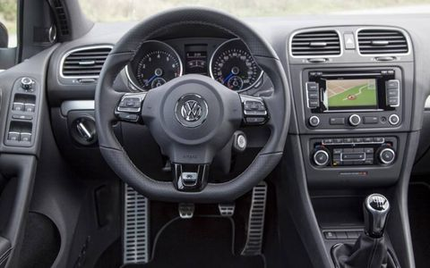 The interior of the Golf R has typical VW style.