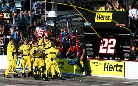 The 22 crew of Brad Keselowski celebrate another Natonwide Series win on Saturday.