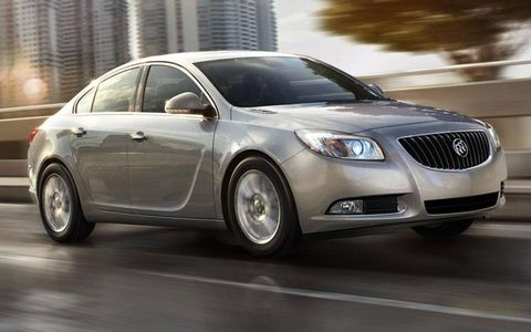 The 2012 Buick Regal eAssist uses a small electric motor to help the four-cylinder engine.