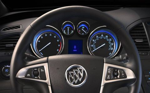 The gauge cluster of the 2012 Buick Regal eAssist.