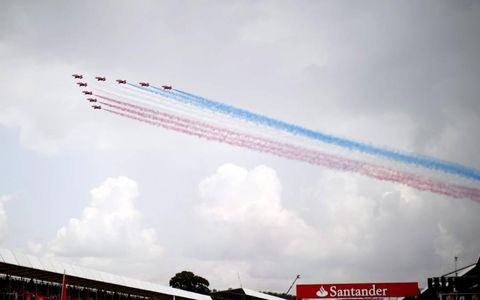 The British Red Arrows put on a show for Formula One fans at the British Grand Prix on July 10. Photo by: Glenn Dunbar/LAT Photographic
