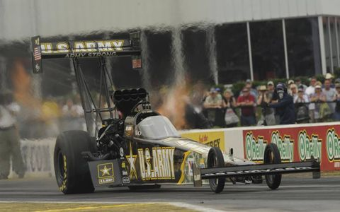 Seven-time champion Tony Schumacher has not one a race in 2011 due to lack of racing luck. Photo: NHRA