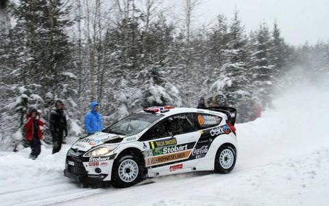 Norway's Mads Ostberg, a privateer racer, led majority of the Rally Sweden on Feb. 10-13. He finished the rally in second. Photo by: McKlein/LAT Photographic