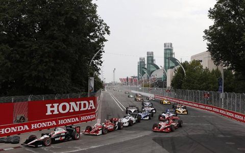 Team Penske's Will Power leads the field during IndyCar's race in Toronto on July 10. Photo by: Michael L. Levitt/LAT Photographic